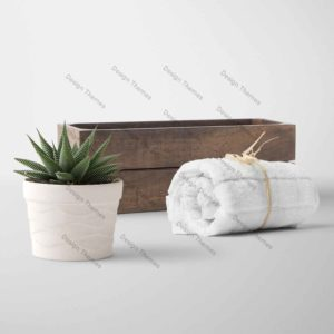 woodbox and towel set